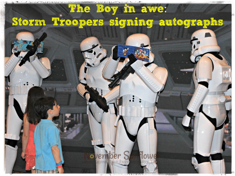 Storm Troopers giving out autographs at Disney