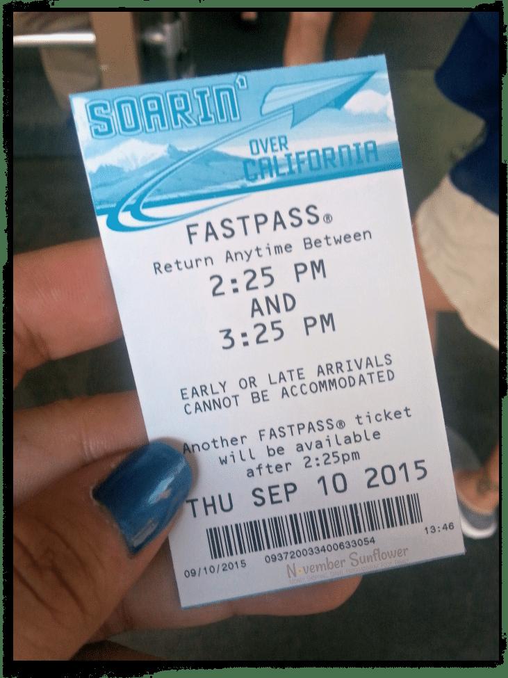 Disneyland Soarin' FastPass