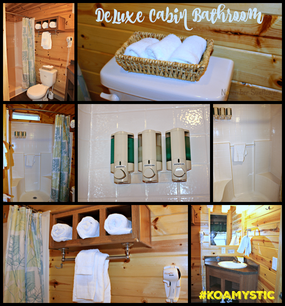 Deluxe Cabin Bathroom KOA Mystic #KOAMystic #glamping #camping #travelreview
