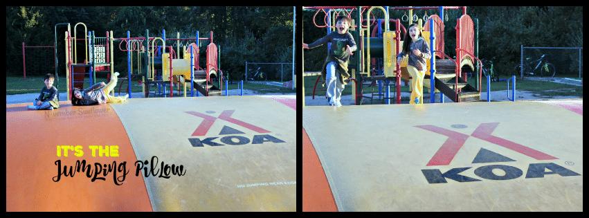 Jumping Pillow at #KOA #Mystic #jumpingpillow #familytravel
