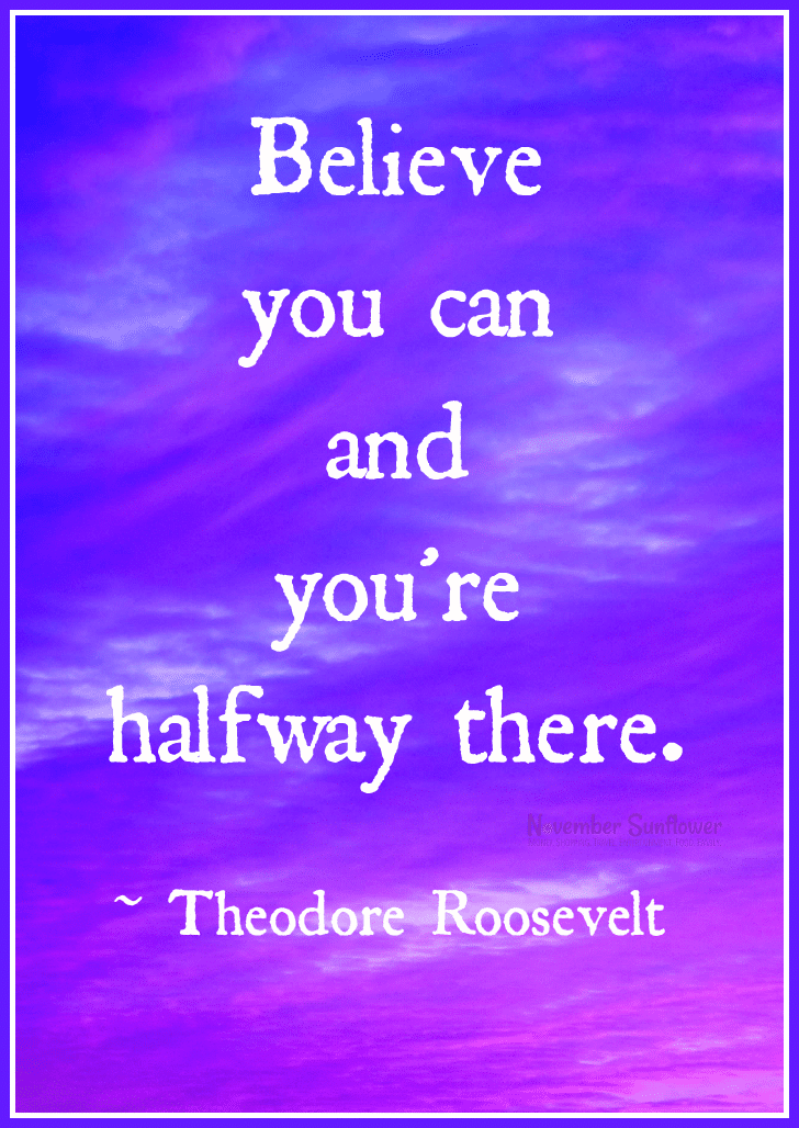 Believe you can and you're halfway there, according to Teddy Roosevelt