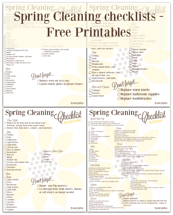 Printable spring cleaning checklists to help get your home spring ready