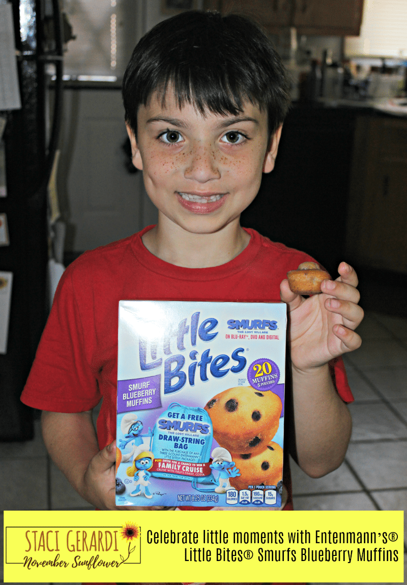 Celebrate little moments with Entenmann's® Little Bites® Smurfs Blueberry Muffins