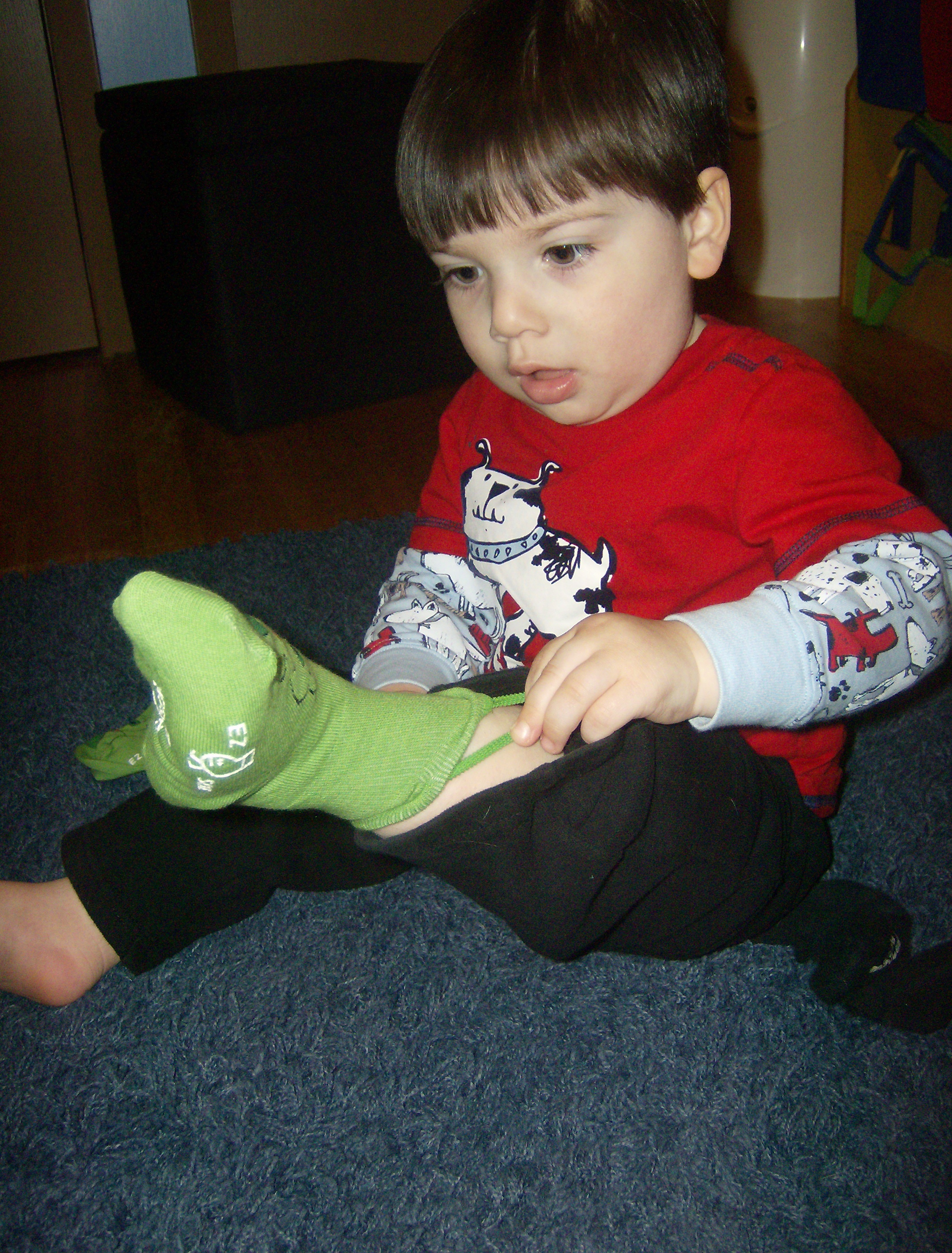 Trying on Frog Socks