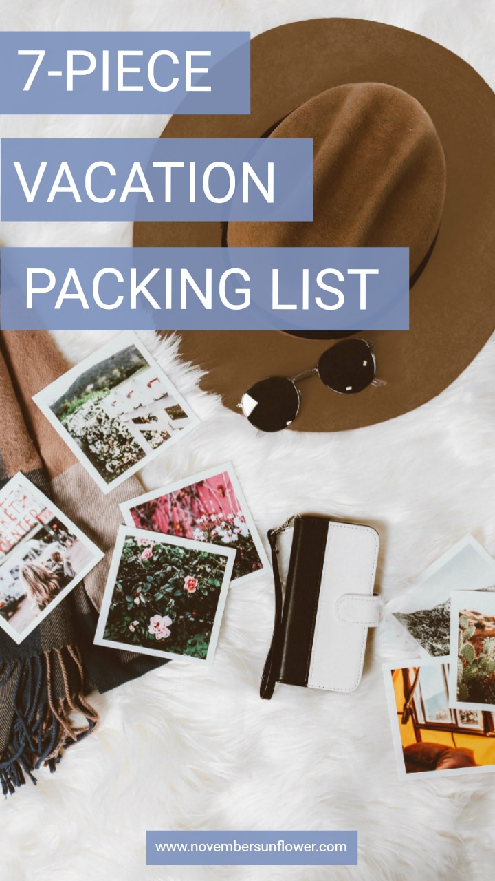 simple 7-piece vacation packing list