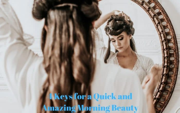 Woman getting ready in the mirror