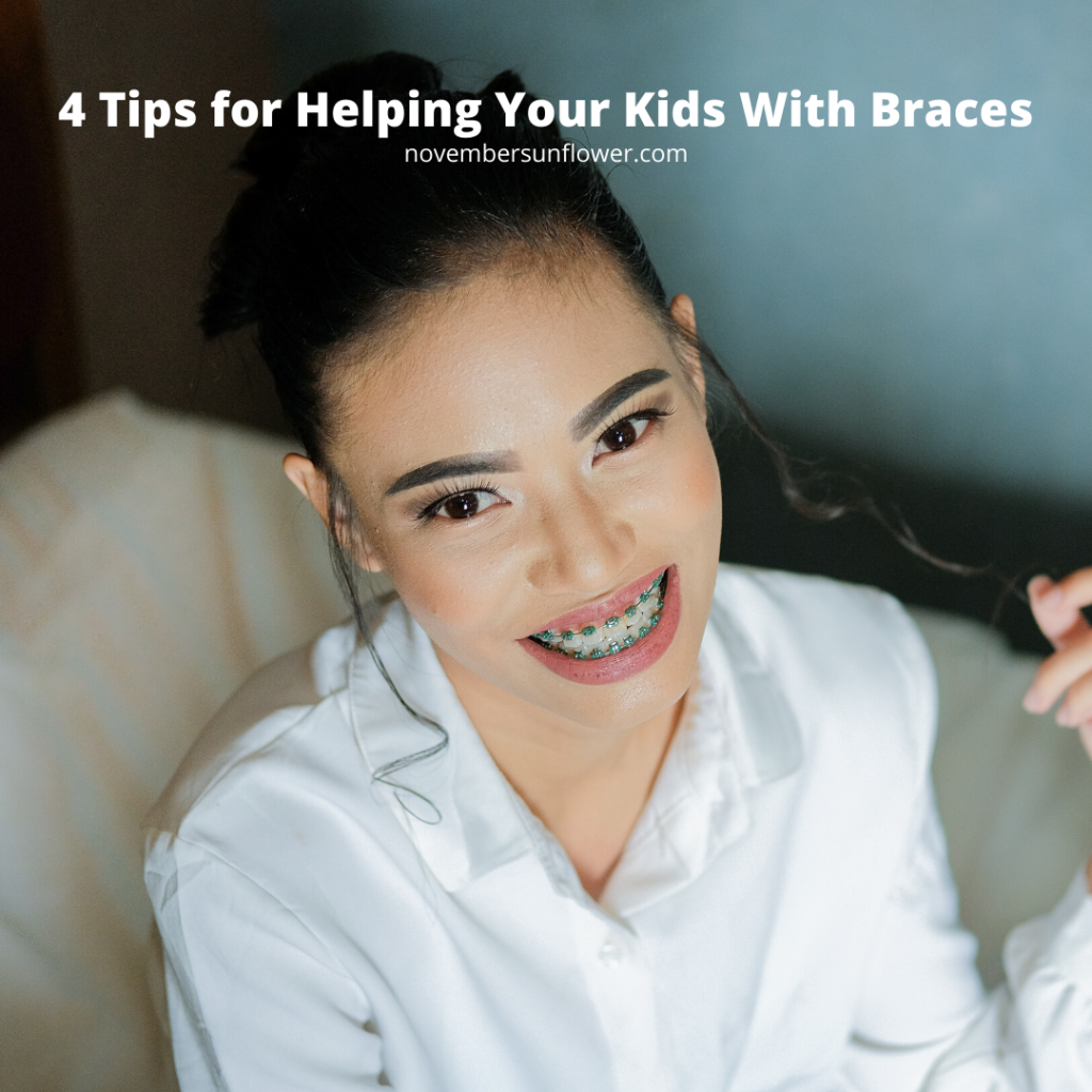 dark haired woman smiling with braces on teeth 4 tips for helping your kids with braces