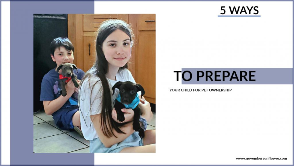 kids holding two puppies - prepare your child for pet ownership