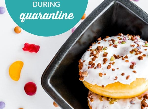donuts on black plate - how to celebrate your birthday during quarantine