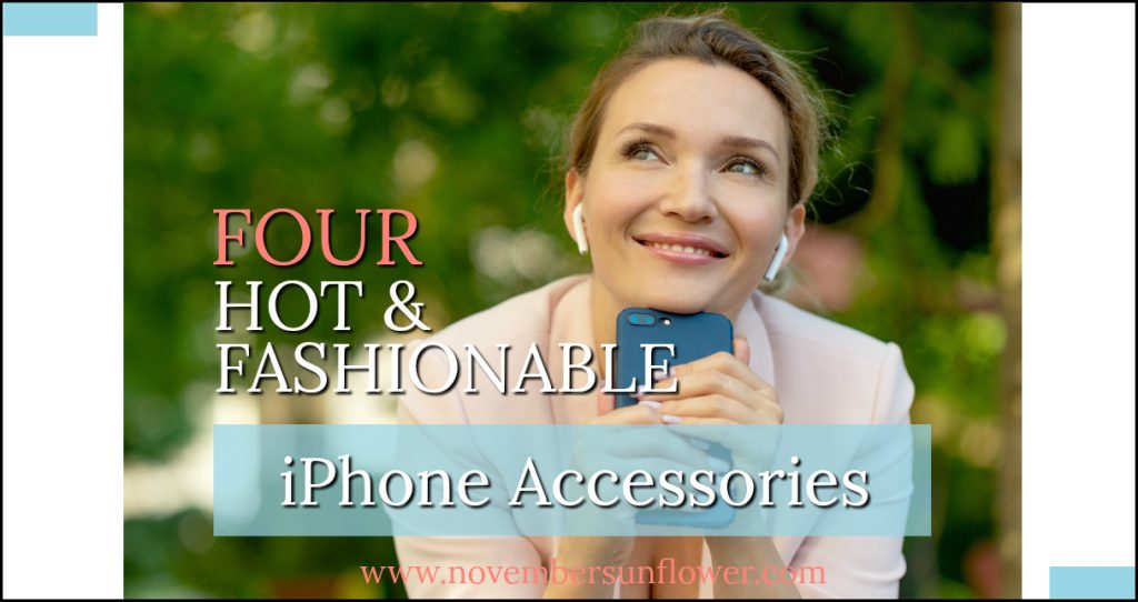 smiling woman holding smartphone