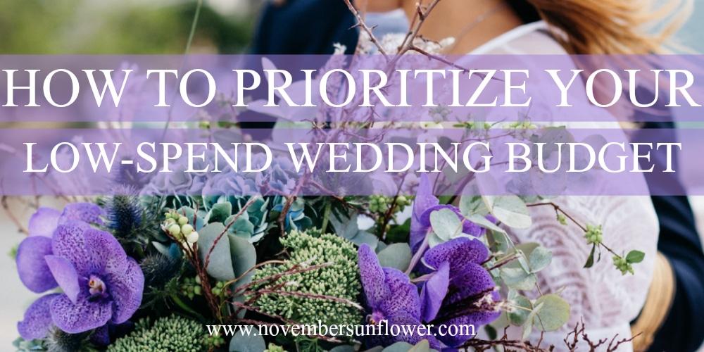 bride holding purple flowers