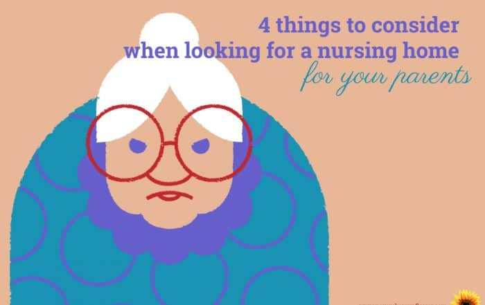 Nursing Home considerations. Cartoon older woman with white hair, big red glasses and a grumpy face on a tan background.